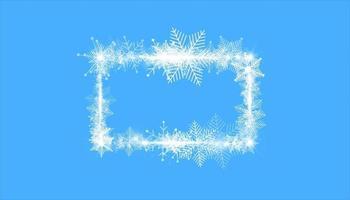 bordure de cadre de neige hiver rectangulaire avec des étoiles, des étincelles et des flocons de neige sur fond bleu. bannière de Noël festive, carte de voeux de nouvel an, carte postale ou illustration vectorielle invitation
