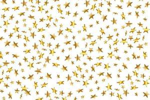 Étoile 3D tombant. or jaune étoilé sur fond transparent. fond d'étoile de confettis de vecteur. carte dorée étoilée. confettis tombent décor chaotique.