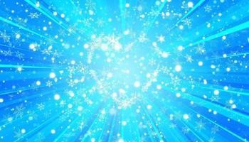 flocons de neige en forme de coeur dans un style plat en lignes de dessin continues. trace de poussière blanche. abstrait magique isolé sur fond bleu. miracle et magie. design plat illustration vectorielle. vecteur