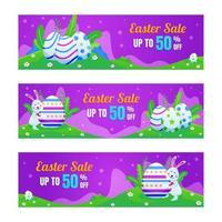 bannière de vente marketing de pâques avec fond violet vecteur