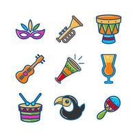 carnaval de rio ensemble d & # 39; icônes vecteur
