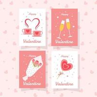 ensemble de cartes de vœux de la saint-valentin vecteur