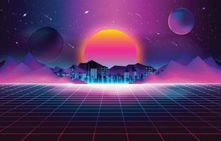 fond de coucher de soleil rétro futurisme vecteur
