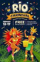 danseurs brésiliens célébrant le carnaval de rio vecteur