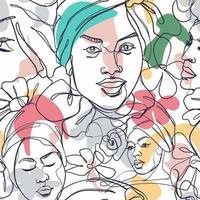 visages féminins ligne minimaliste vecteur