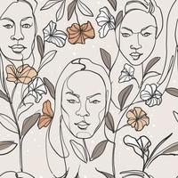 les femmes font face à l'art de la ligne minimaliste vecteur