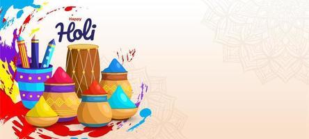 joyeux festival de couleurs holi vecteur