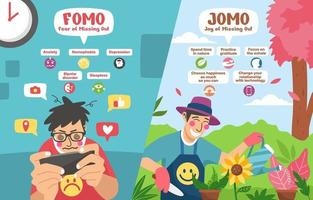 concept infographique fomo vs jomo vecteur
