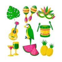 collection d'icônes de carnaval de rio au design plat vecteur