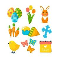 collection d'icônes de Pâques au design plat vecteur