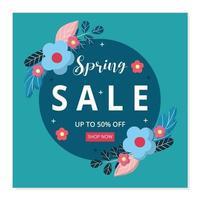 bannière de vente de printemps et modèle de publication de médias sociaux. design plat de vecteur avec des fleurs.