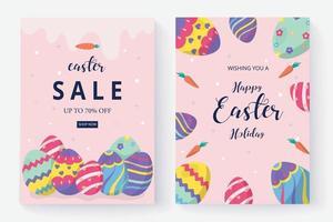 joyeux jour de pâques et publication sur les médias sociaux vecteur