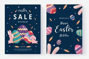 joyeux jour de pâques et ensemble de publications sur les médias sociaux vecteur