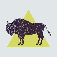 buffle géométrique polygonale abstraite. vue de côté. illustration vectorielle créée à partir de triangles. vecteur