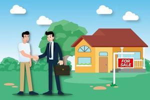 l'agent immobilier montre la nouvelle belle maison moderne à vendre au client et conclut une transaction réussie. illustration vectorielle au design plat.