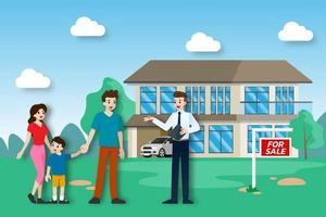 l'agent immobilier montre la nouvelle belle propriété moderne à vendre au client avec la famille. illustration vectorielle au design plat. vecteur