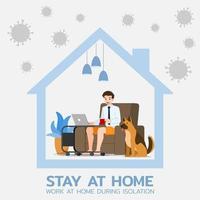 jeune homme d'affaires est assis et travaille avec un ordinateur portable sur le canapé à la maison avec son chien. emploi en ligne dans le social pour la sécurité et pour le protéger du coronavirus. design plat illustration vectorielle. vecteur
