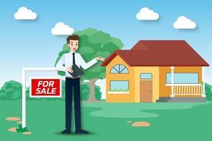 l'agent immobilier montre la nouvelle belle maison moderne à vendre au client. illustration vectorielle au design plat.