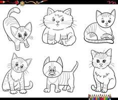 dessin animé, chats, animaux, caractères, ensemble, livre coloration, page