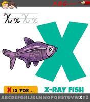 lettre x de l'alphabet avec dessin animé poisson aux rayons x vecteur