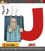 lettre j de l'alphabet avec mot de prison vecteur