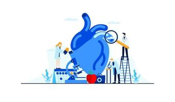 maladie cardiaque plat illustration recherche étude du médecin pour la conception de concept de traitement
