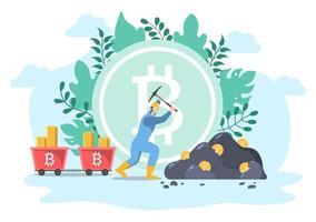 design plat illustration crypto-monnaie avec un homme d'affaires mineur vecteur
