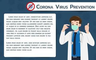 le médecin porte un masque chirurgical de protection contre le virus. la lutte contre la bannière infographique du coronavirus. vecteur