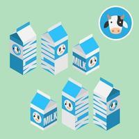 boîte de lait 3d isométrique pour produit sain, vendre au supermarché, magasin et magasin, isolé sur fond vert clair. vecteur