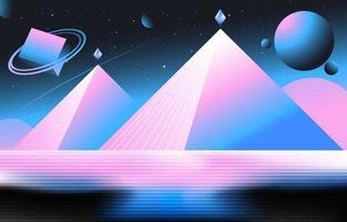 pyramide rétro en arrière-plan de style futuriste vecteur