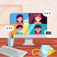 étude d'apprentissage en ligne à domicile vecteur