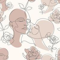 un dessin au trait de baiser et de roses vecteur