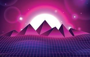 ligne de futurisme rétro et concept de fond de formes pyramidales vecteur