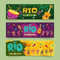 festival de bannières du carnaval de rio vecteur
