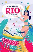 Carnaval de Rio de Janeiro avec danseuse brésilienne vecteur