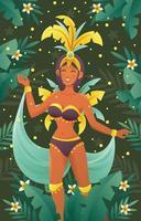 danseuse brésilienne en costume de fête vecteur