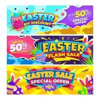collection de bannières de Pâques vecteur
