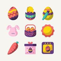 collection d'icônes du festival de pâques vecteur