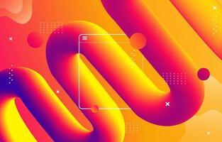 Fond de forme de flux 3D en couleur violet orange vecteur