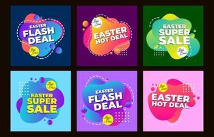 modèle de publication promotionnelle sur les médias sociaux de Pâques vecteur