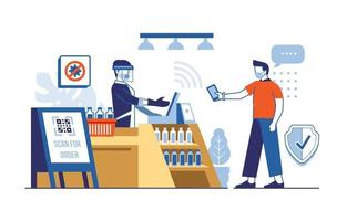 paiement sans contact en magasin vecteur