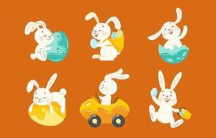personnages mignons de lapin de Pâques vecteur