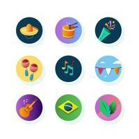 collection d'icônes du festival de rio vecteur
