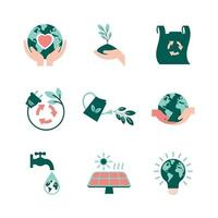 collection d & # 39; icônes de jour de la terre vecteur