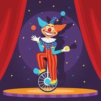 spectacle de cirque de clown vecteur