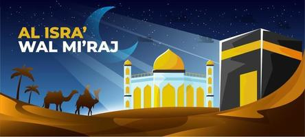 al-isra 'wal mi'raj le voyage nocturne vecteur