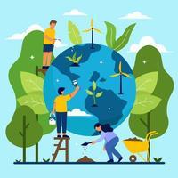 sauver notre planète avec les humains vecteur
