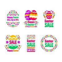 collection de vente d'étiquettes d'oeufs de pâques colorés vecteur