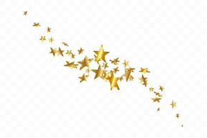 Étoile 3D tombant. fond étoilé jaune or. fond d'étoile de confettis de vecteur. carte dorée étoilée. confettis tombent décor chaotique.