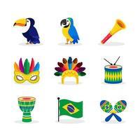 icônes de la collection de carnaval de rio vecteur